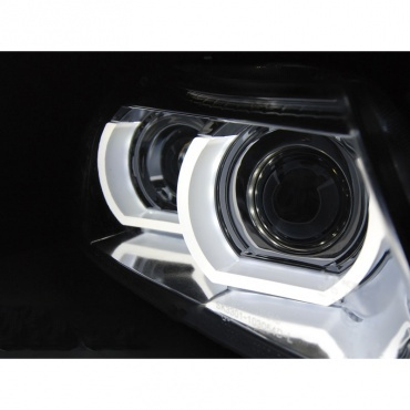 Phares xénon BMW Serie 3 E90 E91 lci Angel Eyes LED U-LTI 09-11 - Noir