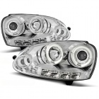 Phares avant VW Golf 5 03-09 Angel + Devil Eyes - Chrome