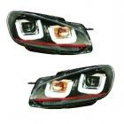 Phares avant VW GOLF 6  3D LED 08-12 Noir+rouge