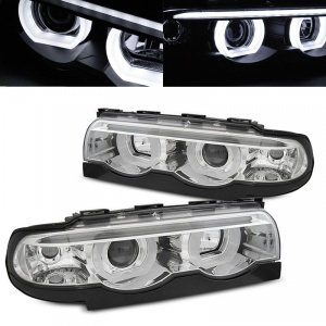 Phares BMW Serie 7 E38 Angel Eyes LED U-LTI 94-01 - Chrome