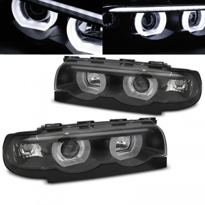 Phares BMW Serie 7 E38 Angel Eyes LED U-LTI 94-01 - Noir