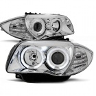 Phares avant BMW Serie 1 E81 E87 Angel Eyes 04 et + - Chrome