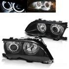 Phares avant BMW E46 Berline Angel Eyes LED Depo V2 - 01-05 - Noir
