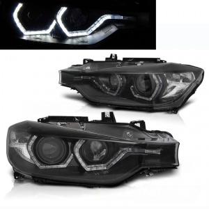 2 Phares avant BMW Serie 3 F30 F31 LCI Angel Eyes LED 15-18 - Noir