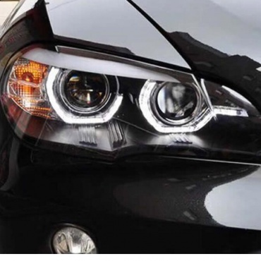 Phares xenon BMW X5 E70 Angel Eyes LED 08-10 - Noir - AFS
