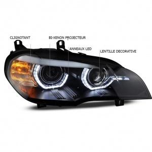 Phares xenon BMW X5 E70 Angel Eyes LED 08-10 - Noir - AFS