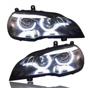 Phares xenon BMW X5 E70 Angel Eyes LED 08-10 - Noir