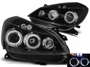 2 Phares avant Renault Clio 3 05-09 Angel Eyes LED - Noir
