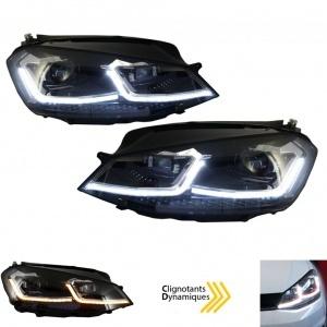 Phares avant VW Golf 7.5 phase 2 - look R - Noir - Dynamiques