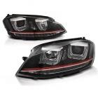 Phares avant VW Golf 7 - 3D cligno LED - Noir + liseret rouge