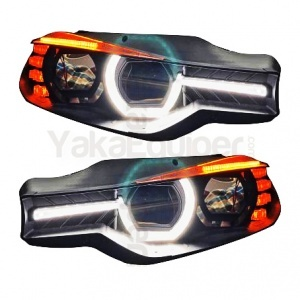 2 Phares BMW Serie 3 F30 Angel Eyes 3D LED 11-15 - Noir