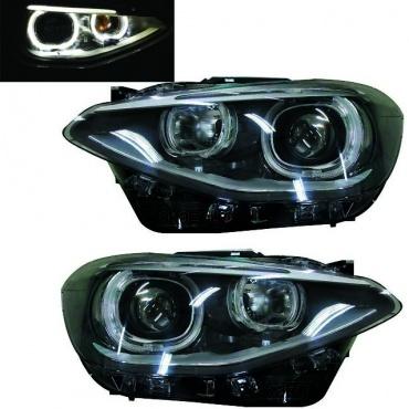 Phares BMW Serie 1 F20 Angel Eyes LED V2 phase 1
