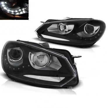 phares avant vw golf 6 led 08 12 noir look xenon yakaequiper. Black Bedroom Furniture Sets. Home Design Ideas