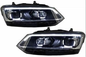 Phares VW Polo 6R 6C  10-17 - look Matrix LED - Noir