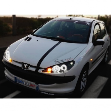 Phares avant Peugeot 206 Angel Eyes CCFL 02+ - Noir