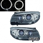 2 Phares avant BMW X1 E84 Angel Eyes DEPO V2 LED 09-12 - Noir