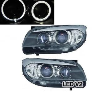 2 Phares avant BMW X1 E84 Angel Eyes DEPO V2 LED 09-12 - Noir