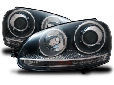 2 phares avant vw golf 5 style gti noir yakaequiper. Black Bedroom Furniture Sets. Home Design Ideas