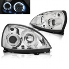 Phares avant Renault Clio 2 01-05 Angel Eyes CCFL - Chrome
