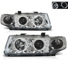 Phares SEAT Leon Toledo 1M 99-04 - Angel Eyes LED - Chrome