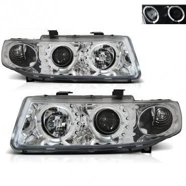 Phares SEAT Leon Toledo 1M 99-04 - Angel Eyes LED - Chrome