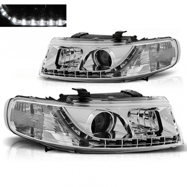 Phares SEAT Leon Toledo 1M 99-04 - Devil Eyes LED - Chrome