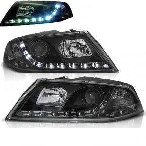 Phares avant Skoda Octavia 2 devil eyes LED - 04-08 - Noir