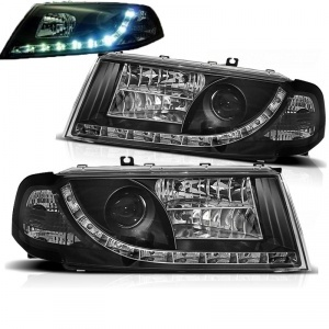 Phares avant Skoda Octavia 1 devil eyes LED - 00-10 - Noir