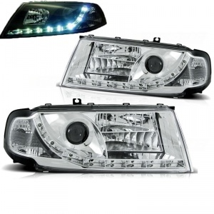 Phares avant Skoda Octavia 1 devil eyes LED - 00-10 - Chrome