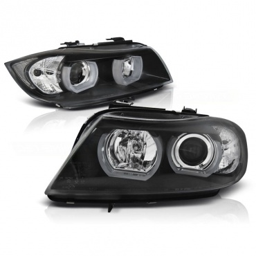 Phares BMW Serie 3 E90 E91 Angel Eyes LED U-LTI 05-08 - Noir