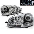 Phares avant VW Golf 5 03-09 Angel Eyes CCFL - Chrome