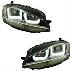 Phares avant VW Golf 7 - 3D LED - Noir + chrome