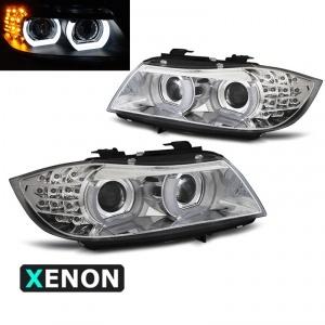 2 Phares xénon BMW Serie 3 E90 E91 lci Angel Eyes LED U-LTI 09-11 - Chrome