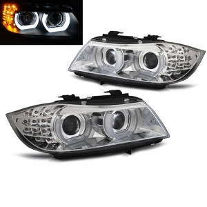 Phares xénon BMW Serie 3 E90 E91 lci Angel Eyes LED U-LTI 09-11 - Chrome