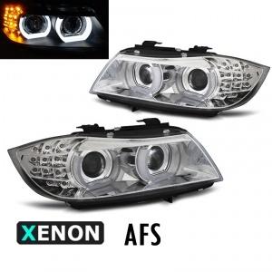 2 Phares xenon AFS BMW Serie 3 E90 E91 lci Angel Eyes LED U-LTI 09-11 - Chrome