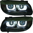 2 Phares avant xénon BMW X1 E84 Angel Eyes 3D LED 12-14 - Chrome