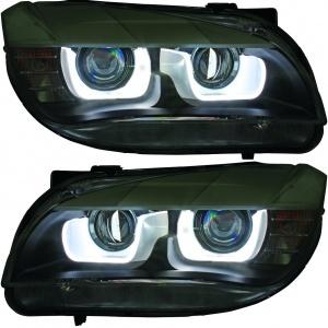 2 Phares avant xénon BMW X1 E84 Angel Eyes 3D LED 12-14 - Chrome