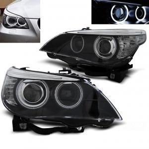 Phares avant BMW Serie 5 E60/E61 Xenon Angel Eyes CCFL 03-04 - Noir