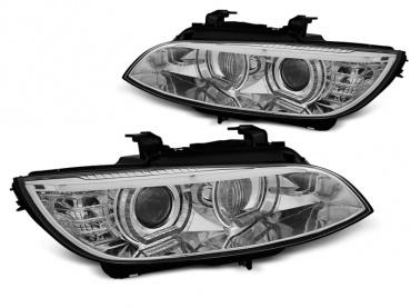 Phares xénon BMW Serie 3 E92 E93 Coupe Angel Eyes LED U-LTI 05-08 - Chrome