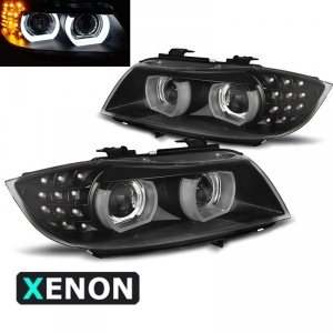 2 Phares xénon BMW Serie 3 E90 E91 lci Angel Eyes LED U-LTI 09-11 - Noir