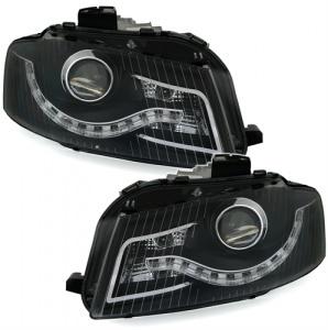 2 Phares avant Audi A3 8P Devil Eyes LED drl - Noir