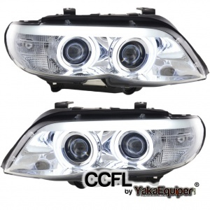 Phares avant BMW X5 E53 Angel Eyes CCFL 03-06 - Chrome