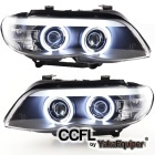 Phares avant BMW X5 E53 Xenon Angel Eyes CCFL 03-06 - Noir