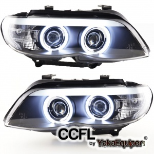 Phares avant BMW X5 E53 Angel Eyes CCFL 03-06 - Noir