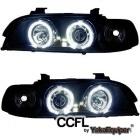 Phares avant BMW Serie 5 E39 Angel Eyes CCFL - Noir