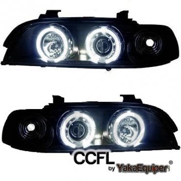 2 phares avant bmw serie 5 e39 angel eyes ccfl noir yakaequiper. Black Bedroom Furniture Sets. Home Design Ideas