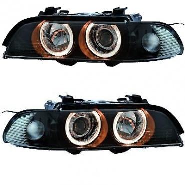2 phares avant bmw serie 5 e39 angel eyes phase 2 xenon noir yakaequiper. Black Bedroom Furniture Sets. Home Design Ideas
