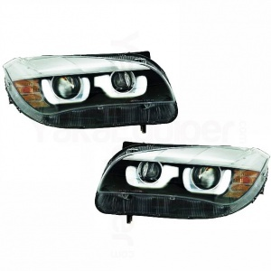2 Phares avant xénon BMW X1 E84 Angel Eyes 3D LED 12-14 - Noir