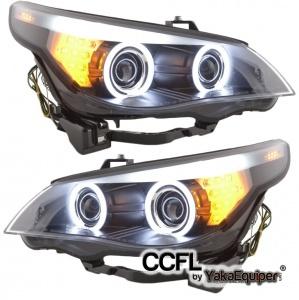 Phares avant BMW Serie 5 E60/E61 halogene Angel Eyes CCFL 03-07 - Noir