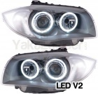 Phares avant BMW Serie 1 E81 E87 Angel Eyes LED V2 DEPO 04 et + - Gris Ant